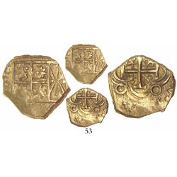 Bogota, Colombia, cob 2 escudos, posthumous Charles II, no assayer, from the 1715 Fleet.