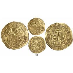 Segovia, Spain, 1 escudo, Charles-Joanna, mintmark aqueduct to left, assayer oD to right, rare.
