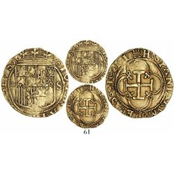 Seville, Spain, 1 escudo, Charles-Joanna, assayer Gothic-D to left, mintmark S to right.