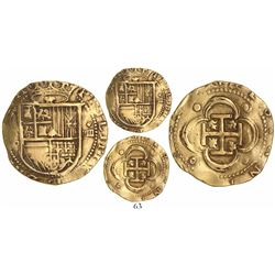 Seville, Spain, cob 4 escudos, Philip II, assayer Gothic D below mintmark S to left.