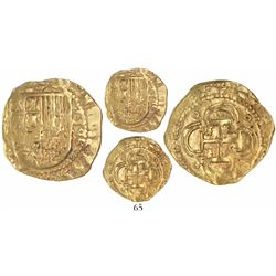 Seville, Spain, cob 2 escudos, 1596/5 vertical date to right, assayer B below denomination and mintm