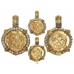 Seville, Spain, cob 2 escudos, Philip III, assayer V, mounted in 18K pendant-bezel with 40 diamonds
