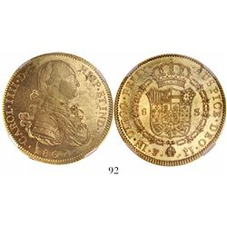 Potosi, Bolivia, bust 8 escudos, Charles IV, 1807PJ, encapsulated NGC AU 55, tied for finest known i
