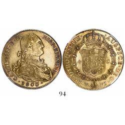 Potosi, Bolivia, bust 4 escudos, Charles IV, 1803PJ, rare, encapsulated NGC AU 53 (only specimen in