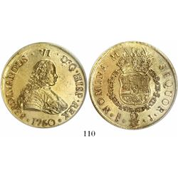 Santiago, Chile, bust 8 escudos, Ferdinand VI, 1750J, from the Luz (1752), encapsulated PCGS MS61.