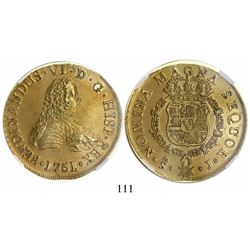 Santiago, Chile, bust 8 escudos, Ferdinand VI, 1751J, encapsulated NGC AU 58, from the Luz (1752).