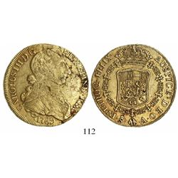 Santiago, Chile, bust 8 escudos, Charles III (large young bust), 1769A.