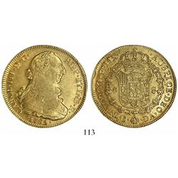 Santiago, Chile, bust 8 escudos, Charles III, 1785DA.