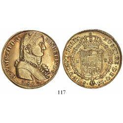 "Santiago, Chile, bust 8 escudos, Ferdinand VII transitional (""admiral"" bust), 1809FJ."