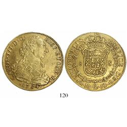 Bogota, Colombia, bust 8 escudos, Charles III, 1784JJ.