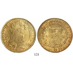Bogota, Colombia, bust 8 escudos, Charles III, 1786JJ.