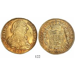 Popayan, Colombia, bust 8 escudos, Charles III, 1787SF, 8/8 in date.