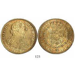 Bogota, Colombia, bust 8 escudos, Charles IV transitional (bust of Charles III, ordinal IV), 1790JJ,