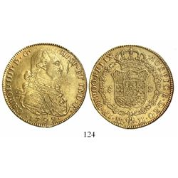 Bogota, Colombia, bust 8 escudos, Charles IV, 1792JJ, no • between J's.
