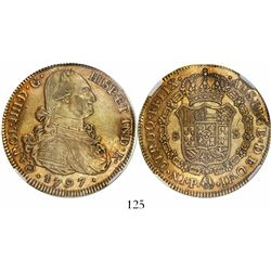 Popayan, Colombia, bust 8 escudos, Charles IV, 1797JF, encapsulated NGC AU 53.