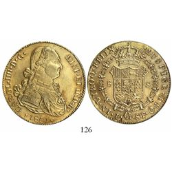 Popayan, Colombia, bust 8 escudos, Charles IV, 1801SF, contemporary counterfeit struck in gold-plate