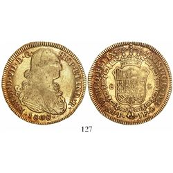 Popayan, Colombia, bust 8 escudos, Ferdinand VII (bust of Charles IV), 1808JF, no overstrikes.