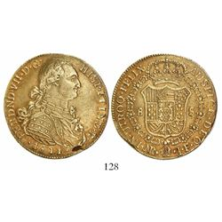 Bogota, Colombia, bust 8 escudos, Ferdinand VII (bust of Charles IV), 1811/0JF, no • before AUSPICE.