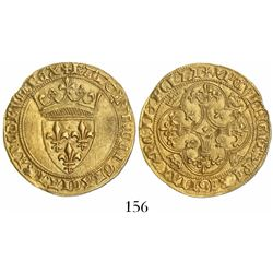 France, ecu d'or a la couronne, Charles VI (1380-1422).