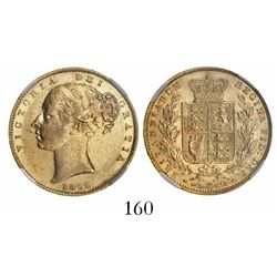 Great Britain (London, England), sovereign, Victoria (young head), 1855, with WW incuse, from the SS