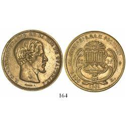 Guatemala, 20 pesos, 1869R, Carrera.