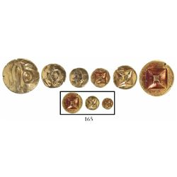 Lot of 3 Indonesian gold coins, Srivijaya Kingdom (680-1250 AD), flat-type 1 massa, 1/2 massa and 1/