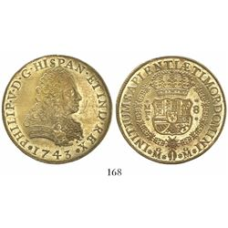 Mexico City, Mexico, bust 8 escudos, Philip V, 1743MF.