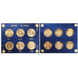 Complete date set (6 coins) of Mexican 20 pesos, 1917-1959, in custom holder.