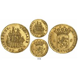 "Holland, United Netherlands, gold 6-stuivers ""ship schelling,"" 1729."
