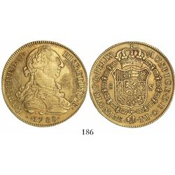 Lima, Peru, bust 8 escudos, Charles III, 1788IJ.