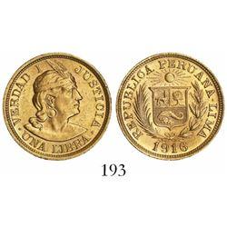 Peru, 1 libra, 1916.