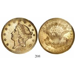 USA (Philadelphia mint), $20 coronet Liberty, 1876, encapsulated NGC AU 58.