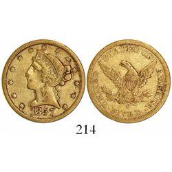 USA (Charlotte mint), $5 coronet Liberty, 1857-C.