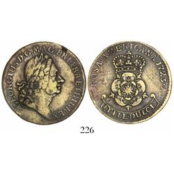"""US colonial, brass """"ROSA AMERICANA"""" twopence, George I, 1723."""