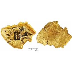 "Gold ""oro corriente"" cut piece with choice full ""f"" stamp for Ferdinand V of Spain, 29.46 grams, fro"