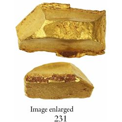 "Gold ""oro corriente"" cut piece of an ingot, 27.90 grams, marked with Charles I tax stamp."