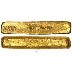 "Complete gold ""finger"" bar #1575, 726 grams, marked with fineness XXIII: (23.5K) and serial number 1"