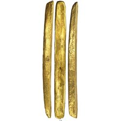 Long, complete gold bar #2, 2307 grams, marked with fineness XXI (21K) and foundry/assayer SARGOSA /
