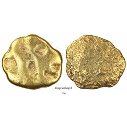 Gold disk, 179 grams, marked with small crowned-C tax stamp and X:: fineness, from the 1715 Fleet.