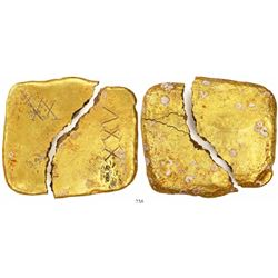 Square gold ingot (broken in two), marked with fleur-de-lis (three times) and V-over-upside-down-V m
