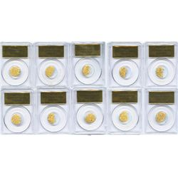 Lot of 10 PCGS slabs, each containing 1.5 grams of gold dust and flakes from the S.S. Central Americ