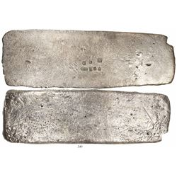 "Silver ""tumbaga"" bar #M-80, 4595 grams, fineness 1370/2400, marked with serial number RC, assayer B~"