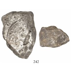 """Silver """"plata corriente"""" cut piece of an ingot, 28.58 grams, marked with Philip II tax stamp"""