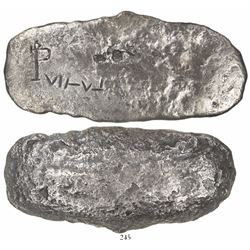 Oval silver ingot, 1637 grams, marked with oP monogram and fineness VII-V-I, from the Capitana (1654