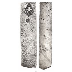 Neatly formed silver ingot from the Rooswijk (1739), 1933 grams, about 98.5% fine, with stamps of th