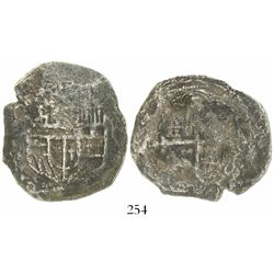 Mexico City, Mexico, cob 8 reales, Philip III, assayer not visible, Grade 3 (12 points), with hand-s