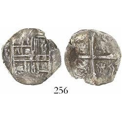 Mexico City, Mexico, cob 1 real, Philip III, assayer not visible, Grade 1.