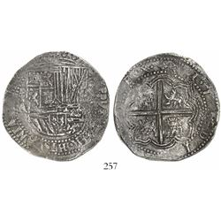 Potosi, Bolivia, cob 8 reales, Philip II, assayer A, Grade 1, certificate and tag missing.