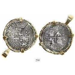 Potosi, Bolivia, cob 8 reales, Philip III, assayer R (curved leg), Grade 1, mounted in 14K pendant-b