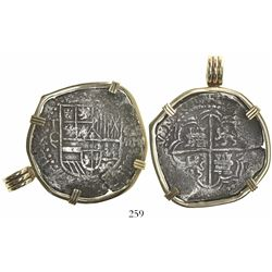 Potosi, Bolivia, cob 8 reales, Philip III, assayer Q, Grade 1, mounted in 14K pendant-bezel.